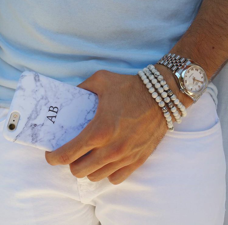 rolex-white-luxury-watch-white-howlite-mens-natural-stone-bead-bracelets-uk