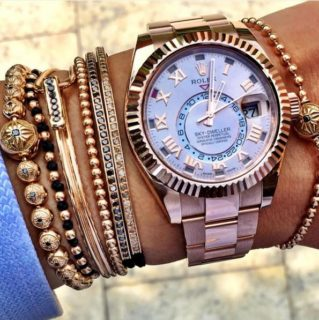 Oyster-Perpetual-Sky-Dweller-Rose-Gold-Rolex-with-mens-beaded-bracelets