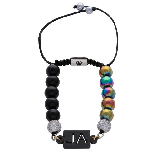 personalised-custom-initials-black-agate-natural-stone-beaded-rainbow-hematite-beads-bracelet-for-men-him