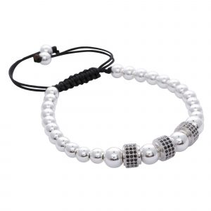 silver-plated-stainless-steel-black-rhinestone-stoppers-spacers-beads-macrame-rope-adjustable-bracelet-for-men