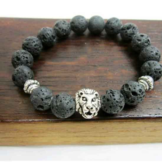 Lion Mens Beaded Bracelet