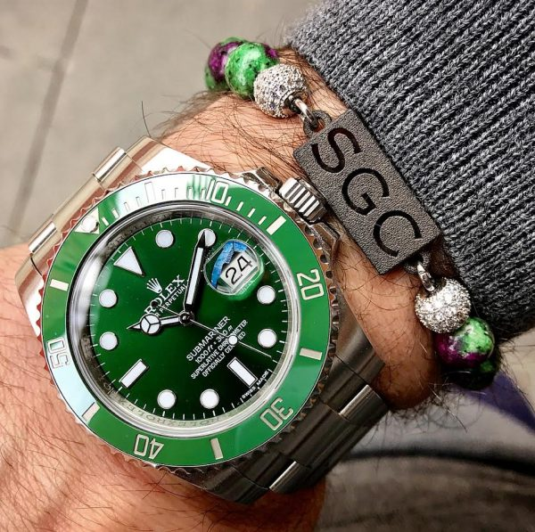 personalised-custom-dyed-epidote-natural-stone-beaded-bracelet-for-men-him-with-rolex-watch