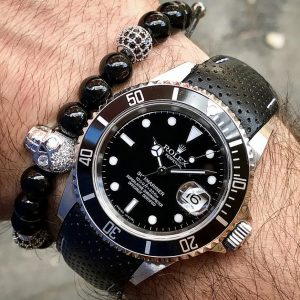 Silver-Skull-Stainless-Steel-Men's-Macrame-Black-Agate-Beaded-Bracelet-with-rolex-UK