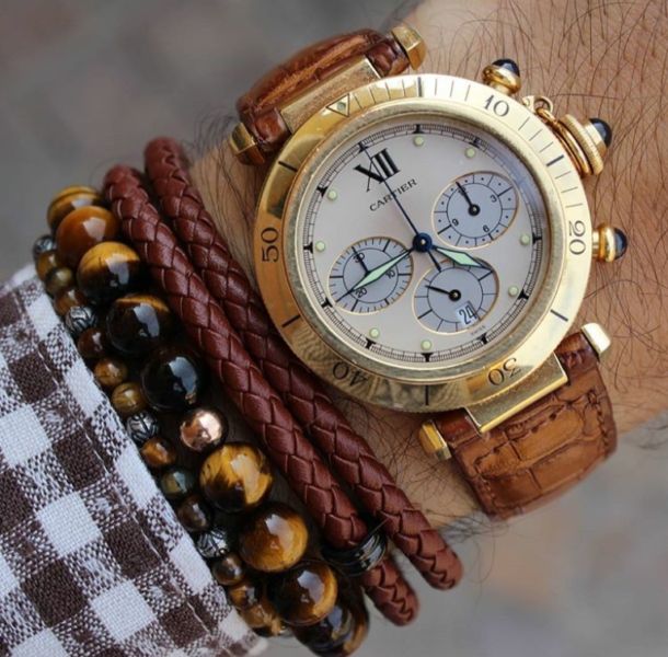 Mens-beaded-bracelet-and-mens-leather-bracelet-styled-with-wrist-watch