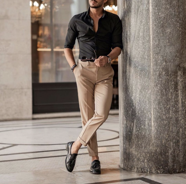 black-shirt-beige-cream-trousers-loafers-smart-shoes-business-wear-business-casual-mens-fashion