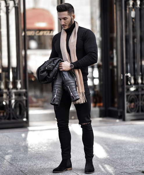 mens-leather-jacket-polo-tshirt-shirt-jeans-boots-look-how-to-style-mens-fashion-trends-look-2021