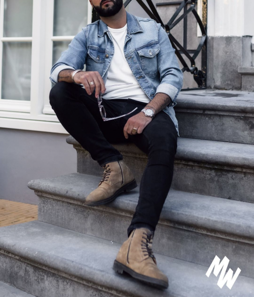 mens-street-style-casual-look-denim-jacket-boots-jeans-uk